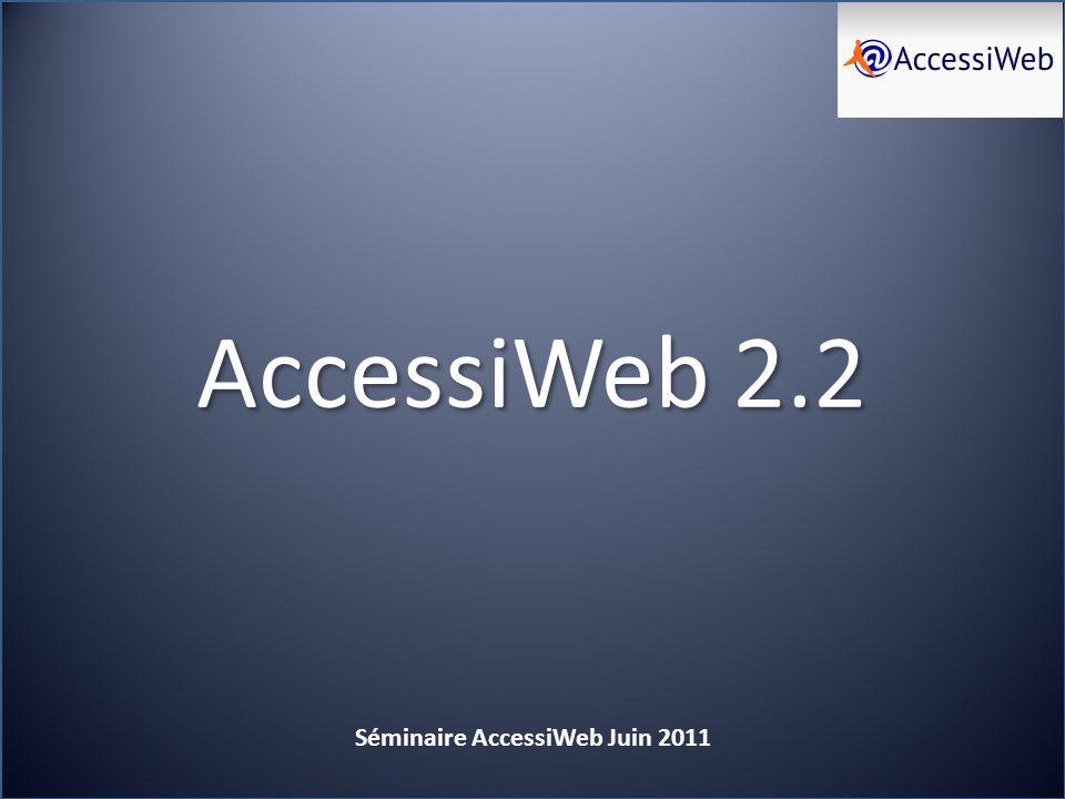 AccessiWeb 2.2 Séminaire AccessiWeb Juin 2011