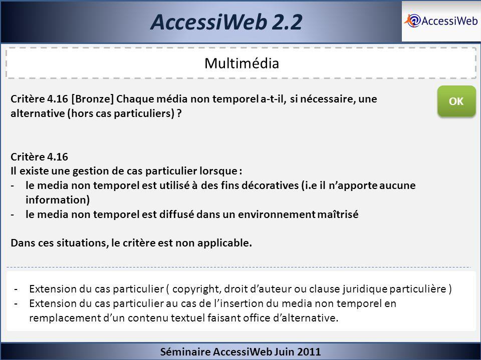 AccessiWeb 2.2 Séminaire AccessiWeb Juin 2011 Multimédia Critère 4.16 [Bronze] Chaque média non temporel a-t-il, si nécessaire, une alternative (hors