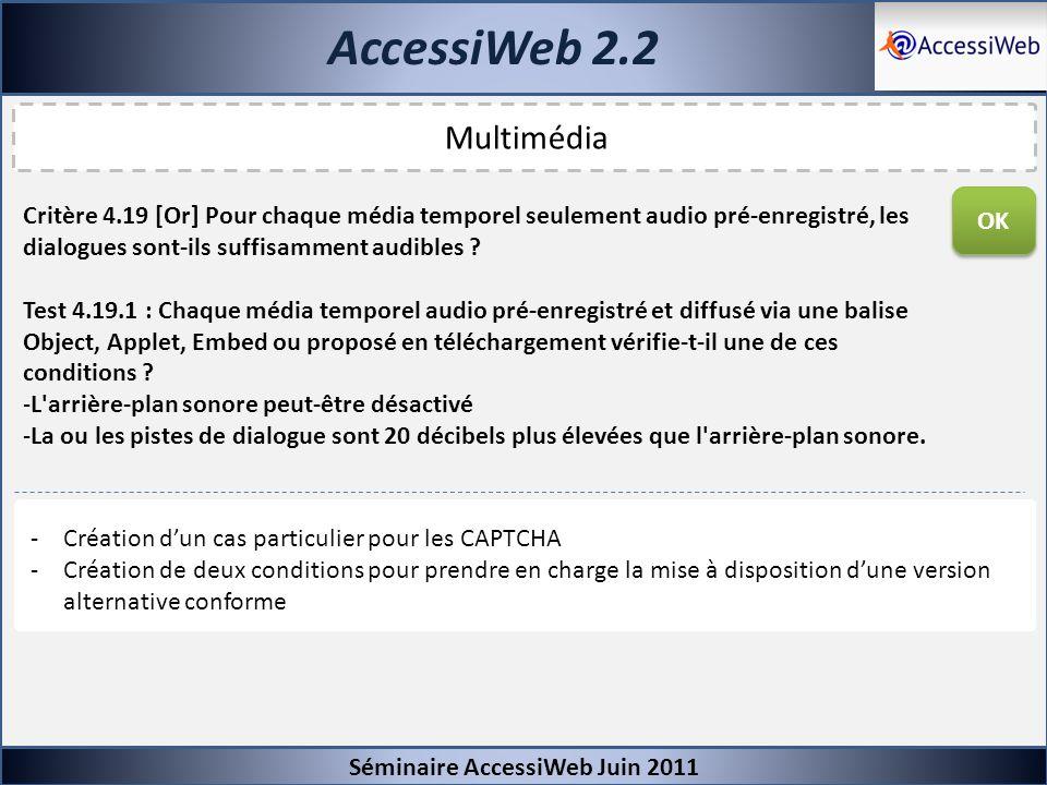 AccessiWeb 2.2 Séminaire AccessiWeb Juin 2011 Multimédia Critère 4.19 [Or] Pour chaque média temporel seulement audio pré-enregistré, les dialogues so