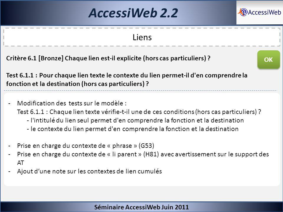 AccessiWeb 2.2 Séminaire AccessiWeb Juin 2011 Liens Critère 6.1 [Bronze] Chaque lien est-il explicite (hors cas particuliers) ? Test 6.1.1 : Pour chaq