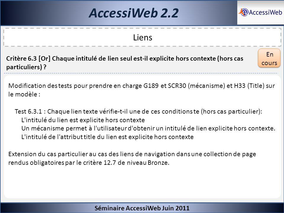 AccessiWeb 2.2 Séminaire AccessiWeb Juin 2011 Liens Critère 6.3 [Or] Chaque intitulé de lien seul est-il explicite hors contexte (hors cas particulier