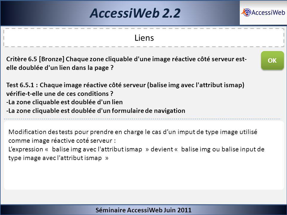 AccessiWeb 2.2 Séminaire AccessiWeb Juin 2011 Liens Critère 6.5 [Bronze] Chaque zone cliquable d'une image réactive côté serveur est- elle doublée d'u