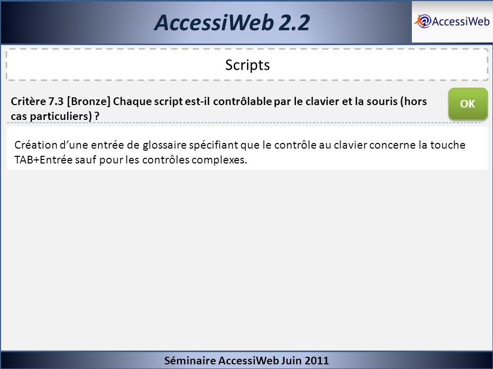 AccessiWeb 2.2 Séminaire AccessiWeb Juin 2011 Scripts Critère 7.3 [Bronze] Chaque script est-il contrôlable par le clavier et la souris (hors cas part