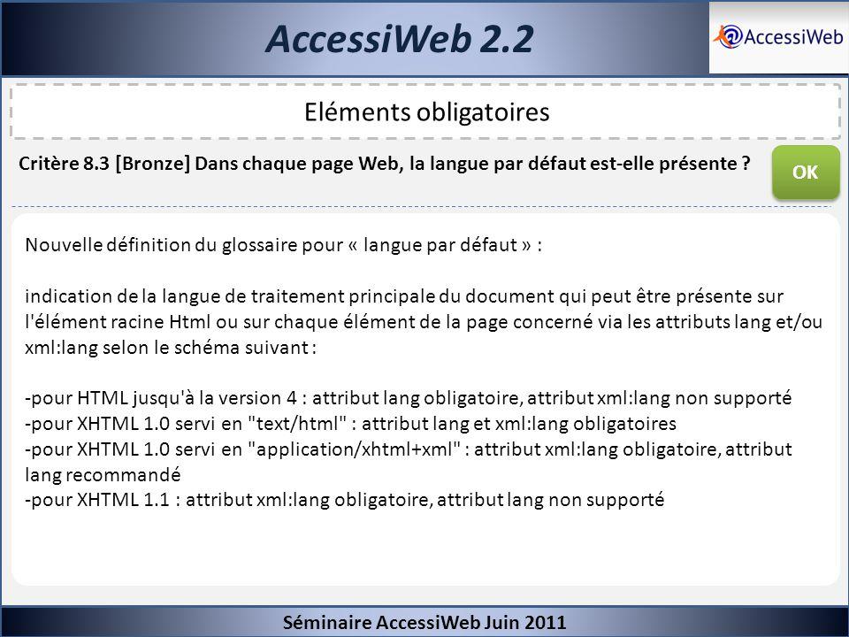 AccessiWeb 2.2 Séminaire AccessiWeb Juin 2011 Eléments obligatoires Critère 8.3 [Bronze] Dans chaque page Web, la langue par défaut est-elle présente