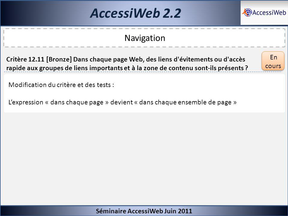 AccessiWeb 2.2 Séminaire AccessiWeb Juin 2011 Navigation Critère 12.11 [Bronze] Dans chaque page Web, des liens d'évitements ou d'accès rapide aux gro