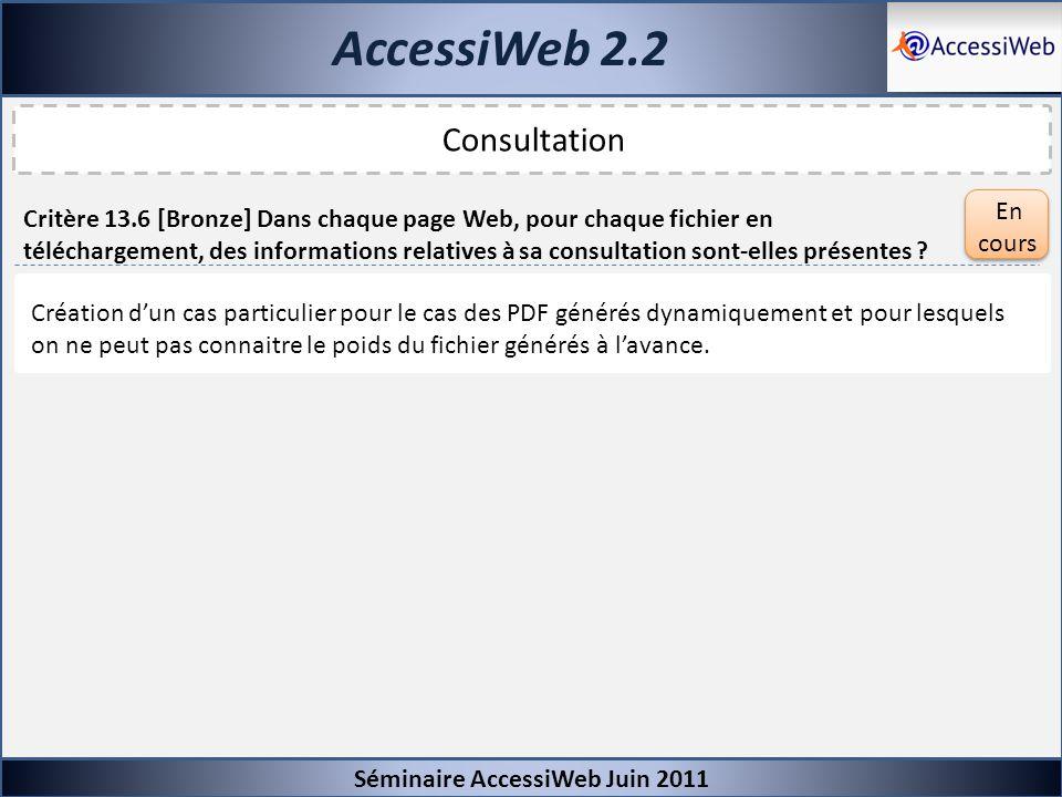 AccessiWeb 2.2 Séminaire AccessiWeb Juin 2011 Consultation Critère 13.6 [Bronze] Dans chaque page Web, pour chaque fichier en téléchargement, des info