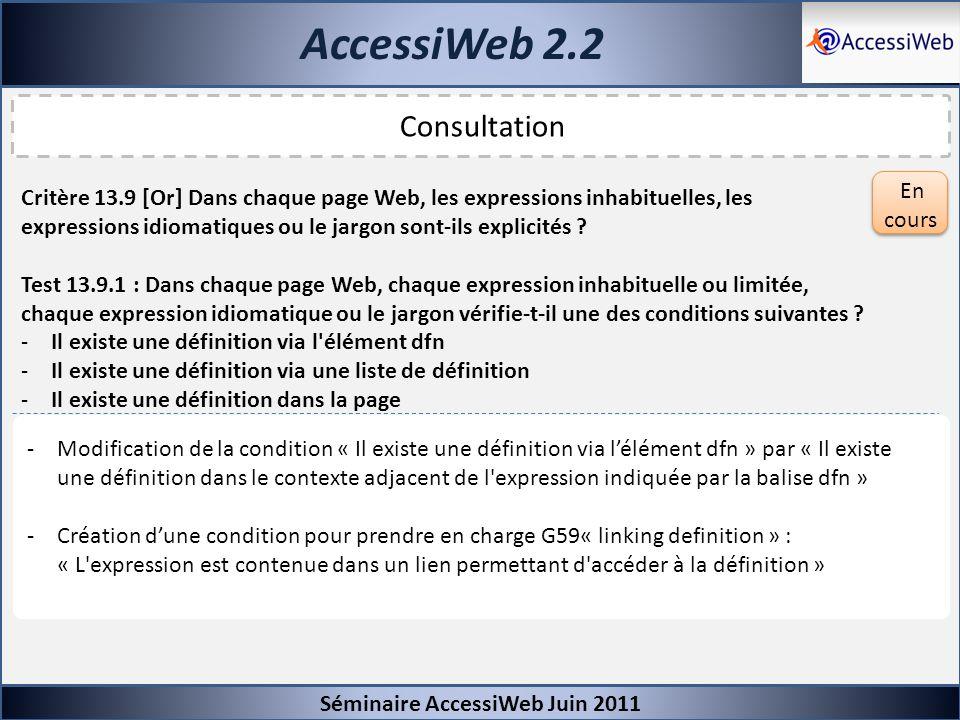 AccessiWeb 2.2 Séminaire AccessiWeb Juin 2011 Consultation Critère 13.9 [Or] Dans chaque page Web, les expressions inhabituelles, les expressions idio