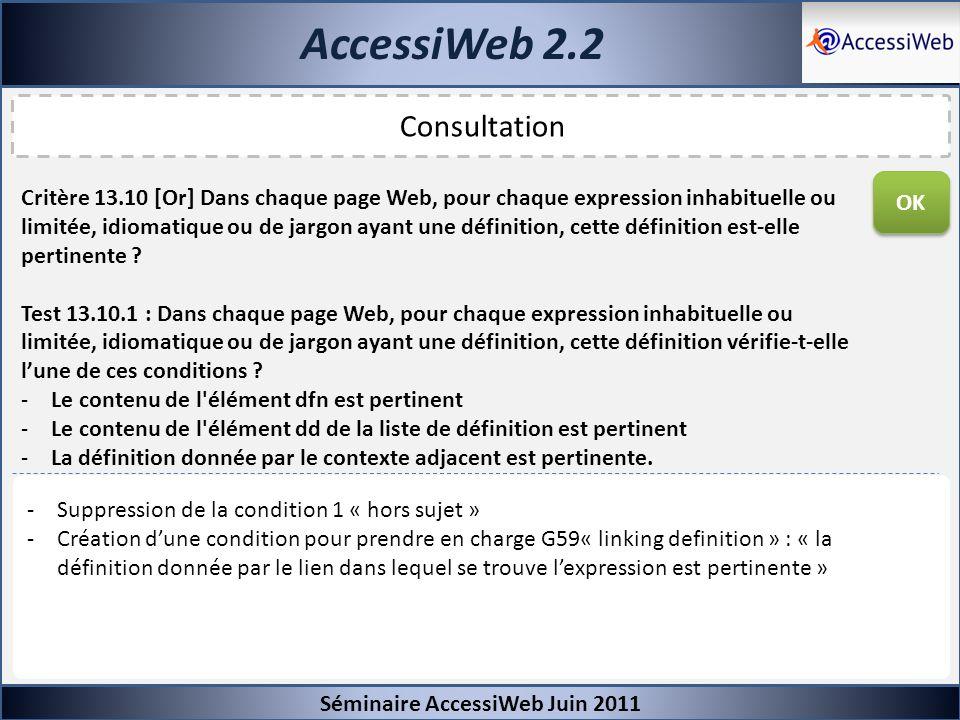 AccessiWeb 2.2 Séminaire AccessiWeb Juin 2011 Consultation Critère 13.10 [Or] Dans chaque page Web, pour chaque expression inhabituelle ou limitée, id