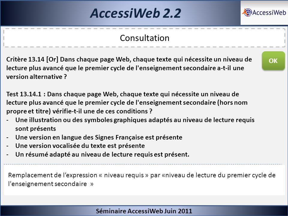 AccessiWeb 2.2 Séminaire AccessiWeb Juin 2011 Consultation Critère 13.14 [Or] Dans chaque page Web, chaque texte qui nécessite un niveau de lecture pl