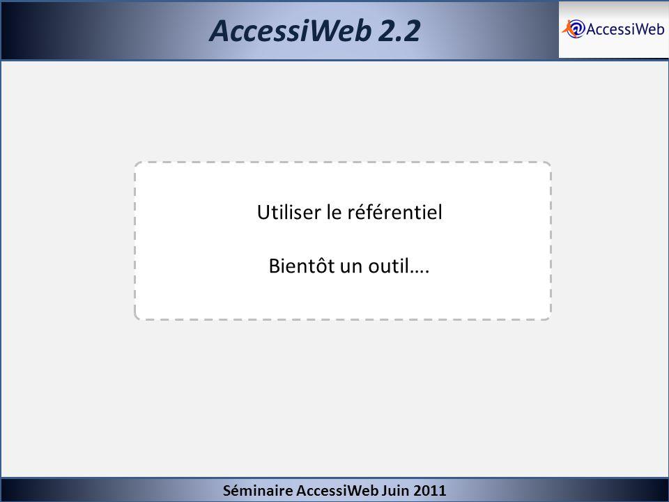 AccessiWeb 2.2 Séminaire AccessiWeb Juin 2011 Utiliser le référentiel Bientôt un outil….