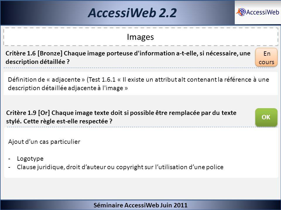 AccessiWeb 2.2 Séminaire AccessiWeb Juin 2011 Images Critère 1.9 [Or] Chaque image texte doit si possible être remplacée par du texte stylé. Cette règ
