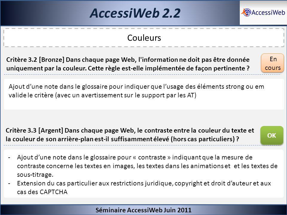 AccessiWeb 2.2 Séminaire AccessiWeb Juin 2011 Couleurs Critère 3.2 [Bronze] Dans chaque page Web, l'information ne doit pas être donnée uniquement par