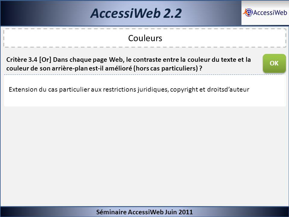 AccessiWeb 2.2 Séminaire AccessiWeb Juin 2011 Couleurs Critère 3.4 [Or] Dans chaque page Web, le contraste entre la couleur du texte et la couleur de