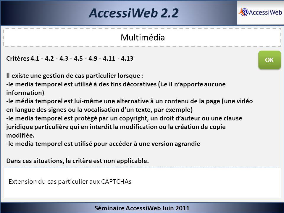 AccessiWeb 2.2 Séminaire AccessiWeb Juin 2011 Multimédia Critères 4.1 - 4.2 - 4.3 - 4.5 - 4.9 - 4.11 - 4.13 Il existe une gestion de cas particulier l
