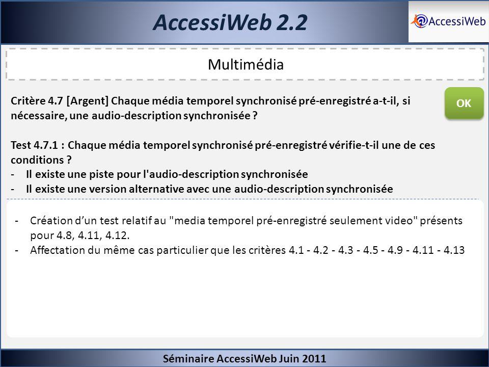 AccessiWeb 2.2 Séminaire AccessiWeb Juin 2011 Multimédia Critère 4.7 [Argent] Chaque média temporel synchronisé pré-enregistré a-t-il, si nécessaire,