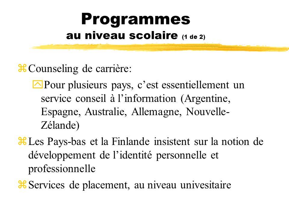 Programmes au niveau scolaire (1 de 2) zCounseling de carrière: yPour plusieurs pays, cest essentiellement un service conseil à linformation (Argentin