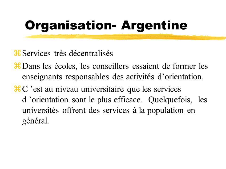 Organisation- Argentine zServices très décentralisés zDans les écoles, les conseillers essaient de former les enseignants responsables des activités d