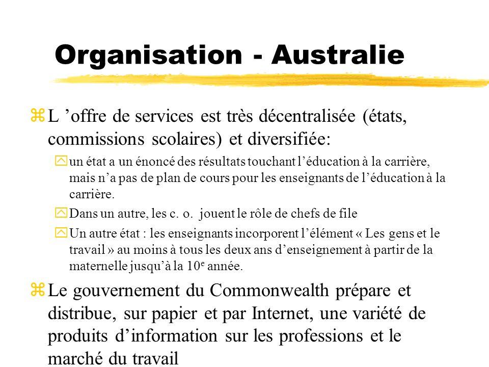Organisation - Australie zL offre de services est très décentralisée (états, commissions scolaires) et diversifiée: yun état a un énoncé des résultats