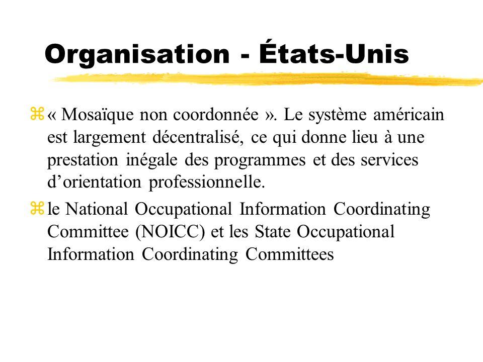 Organisation - États-Unis z« Mosaïque non coordonnée ». Le système américain est largement décentralisé, ce qui donne lieu à une prestation inégale de