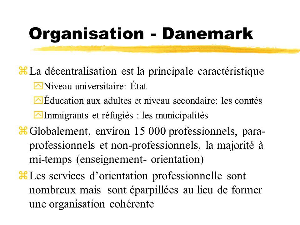 Organisation - Danemark zLa décentralisation est la principale caractéristique yNiveau universitaire: État yÉducation aux adultes et niveau secondaire