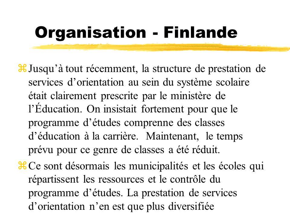 Organisation - Finlande zJusquà tout récemment, la structure de prestation de services dorientation au sein du système scolaire était clairement presc