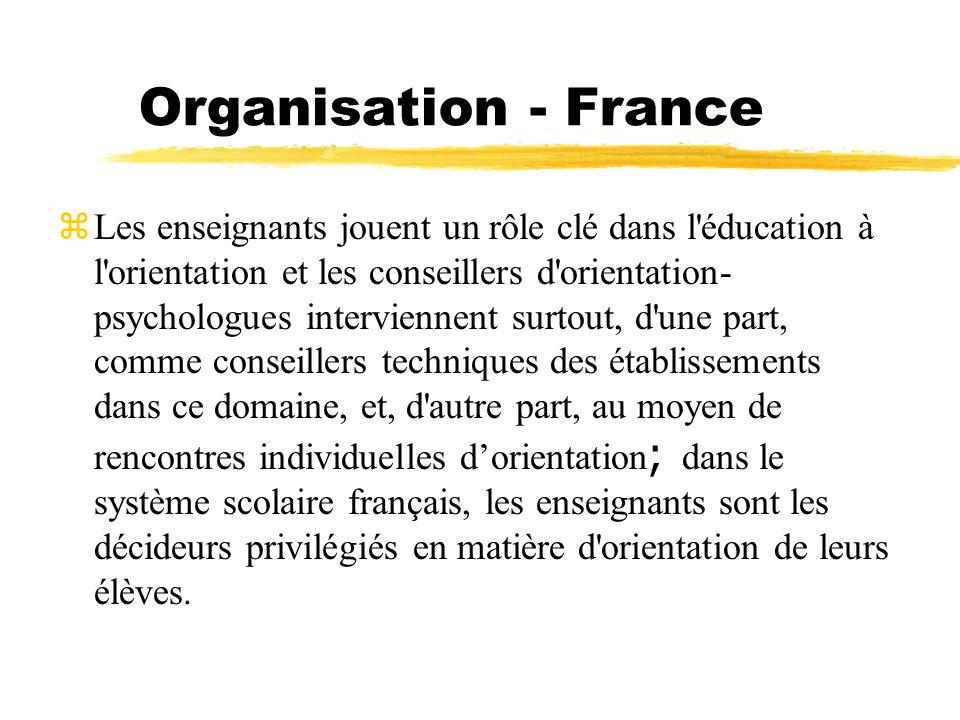 Organisation - France Les enseignants jouent un rôle clé dans l'éducation à l'orientation et les conseillers d'orientation- psychologues interviennent