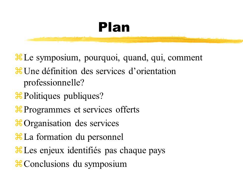 Plan zLe symposium, pourquoi, quand, qui, comment zUne définition des services dorientation professionnelle? zPolitiques publiques? zProgrammes et ser