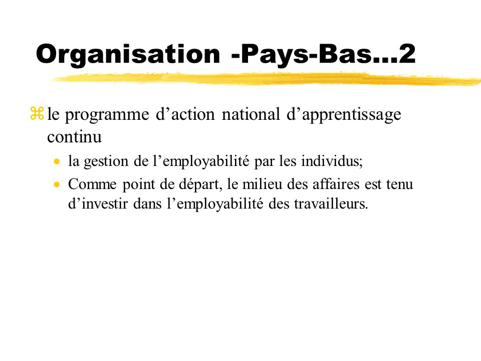 Organisation -Pays-Bas…2 zle programme daction national dapprentissage continu la gestion de lemployabilité par les individus; Comme point de départ,