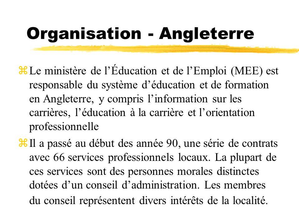 Organisation - Angleterre zLe ministère de lÉducation et de lEmploi (MEE) est responsable du système déducation et de formation en Angleterre, y compr