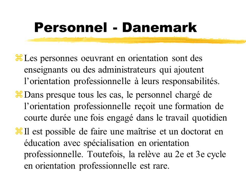 Personnel - Danemark zLes personnes oeuvrant en orientation sont des enseignants ou des administrateurs qui ajoutent lorientation professionnelle à le