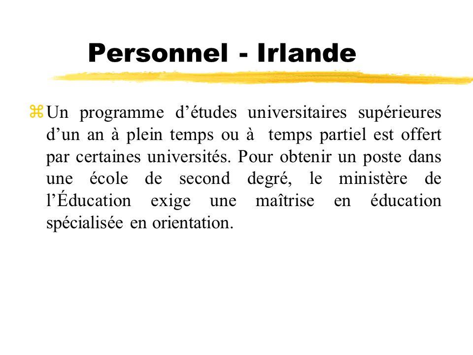 Personnel - Irlande zUn programme détudes universitaires supérieures dun an à plein temps ou à temps partiel est offert par certaines universités. Pou