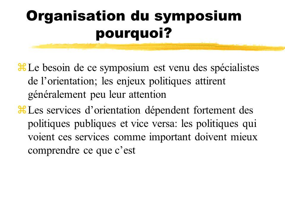 Organisation du symposium pourquoi? zLe besoin de ce symposium est venu des spécialistes de lorientation; les enjeux politiques attirent généralement