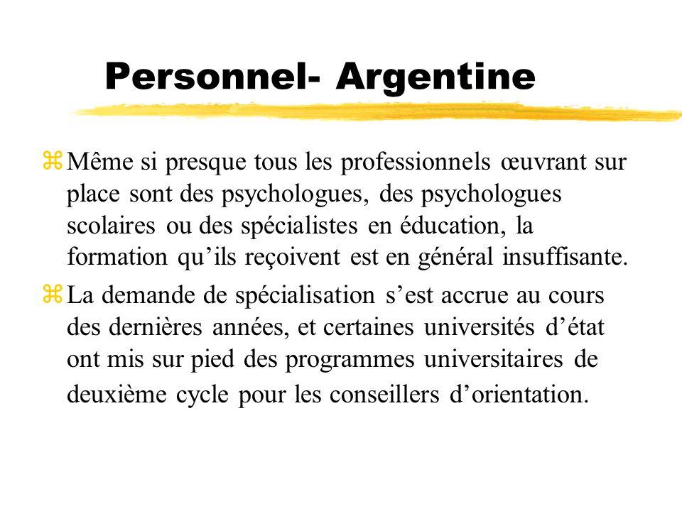 Personnel- Argentine zMême si presque tous les professionnels œuvrant sur place sont des psychologues, des psychologues scolaires ou des spécialistes