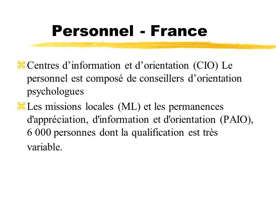 Personnel - France zCentres dinformation et dorientation (CIO) Le personnel est composé de conseillers dorientation psychologues Les missions locales