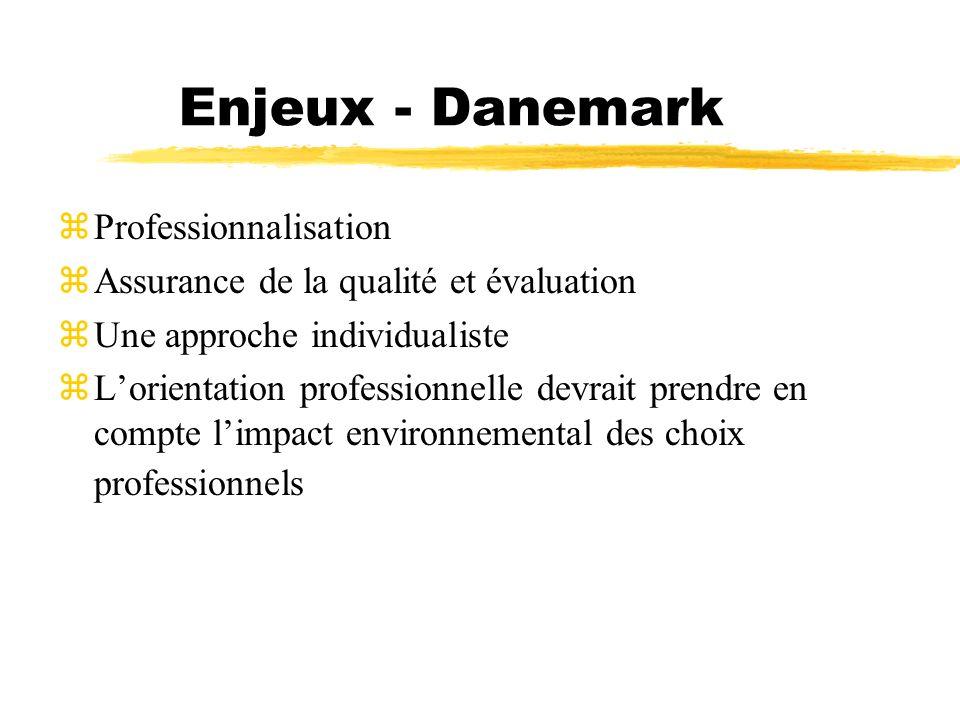 Enjeux - Danemark zProfessionnalisation zAssurance de la qualité et évaluation zUne approche individualiste Lorientation professionnelle devrait prend