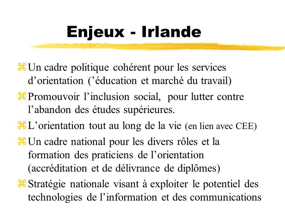 Enjeux - Irlande zUn cadre politique cohérent pour les services dorientation (éducation et marché du travail) zPromouvoir linclusion social, pour lutt