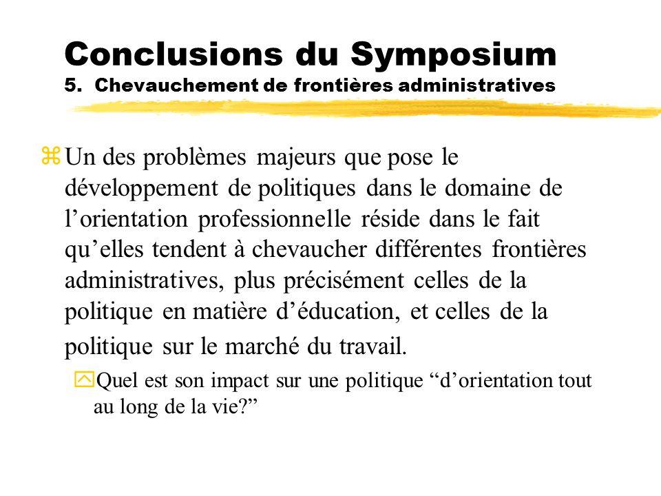 Conclusions du Symposium 5. Chevauchement de frontières administratives Un des problèmes majeurs que pose le développement de politiques dans le domai