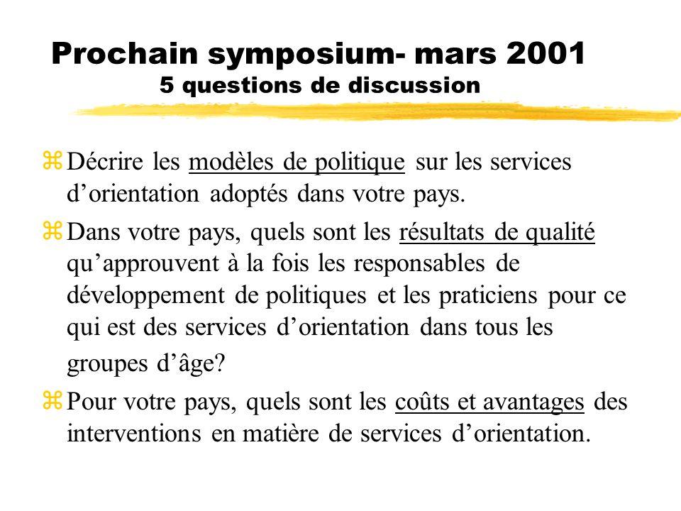 Prochain symposium- mars 2001 5 questions de discussion zDécrire les modèles de politique sur les services dorientation adoptés dans votre pays. Dans