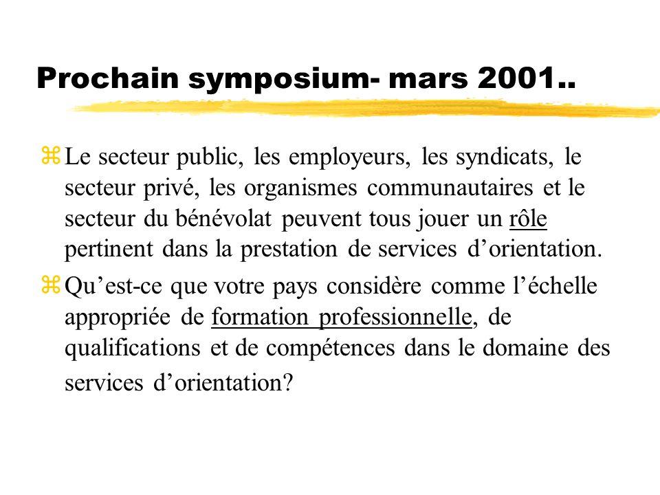 Prochain symposium- mars 2001.. zLe secteur public, les employeurs, les syndicats, le secteur privé, les organismes communautaires et le secteur du bé
