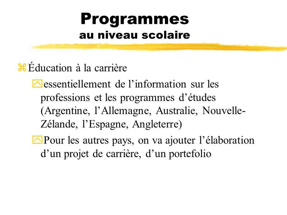 Programmes au niveau scolaire zÉducation à la carrière yessentiellement de linformation sur les professions et les programmes détudes (Argentine, lAll