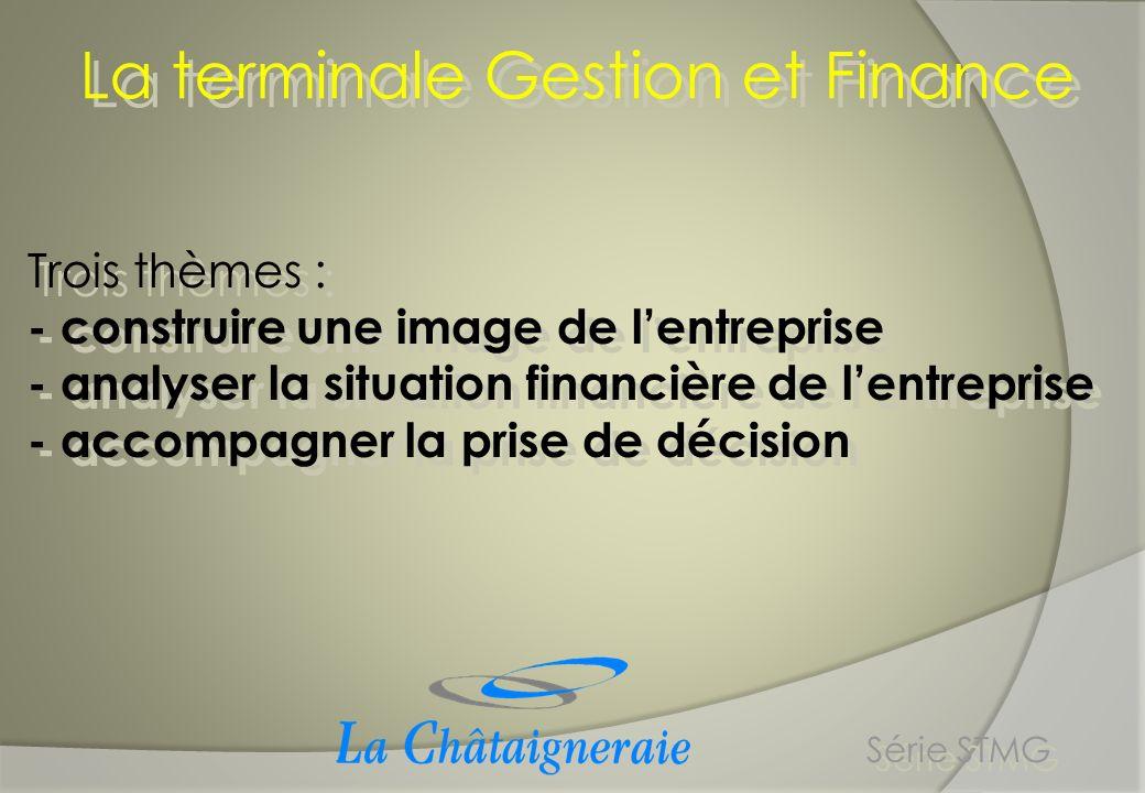 Trois thèmes : - construire une image de lentreprise - analyser la situation financière de lentreprise - accompagner la prise de décision Trois thèmes