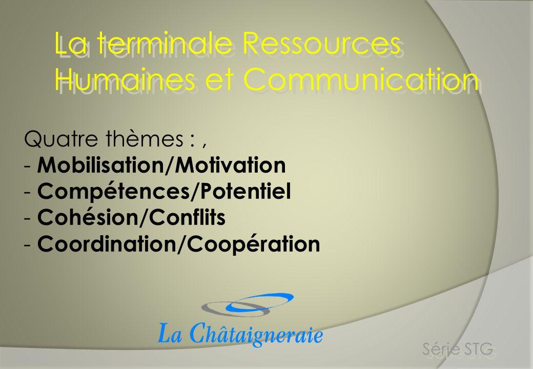 La terminale Ressources Humaines et Communication Série STG Quatre thèmes :, - Mobilisation/Motivation - Compétences/Potentiel - Cohésion/Conflits - C