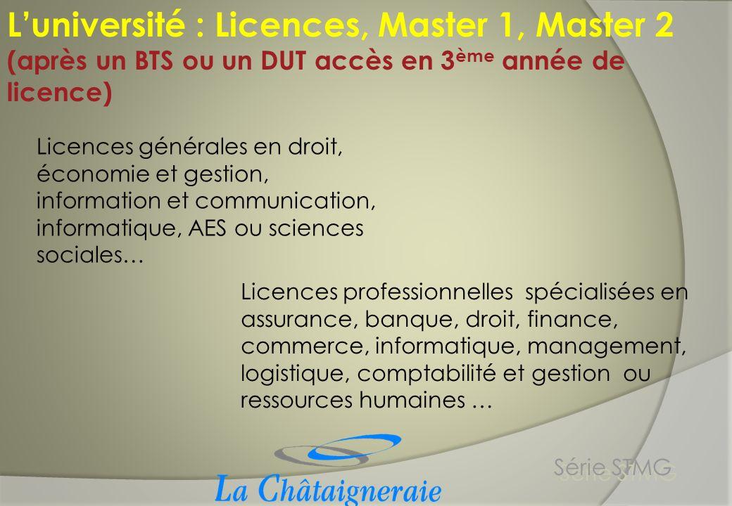 Luniversité : Licences, Master 1, Master 2 (après un BTS ou un DUT accès en 3 ème année de licence) Licences générales en droit, économie et gestion,
