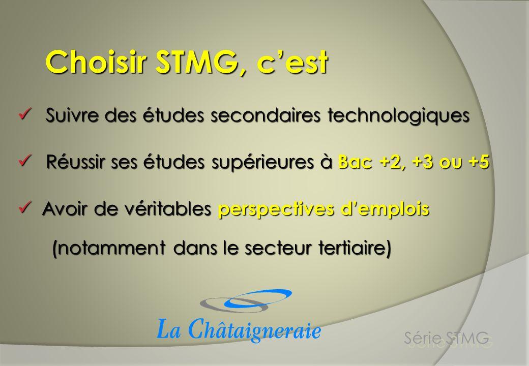 Choisir STMG à la Châtaigneraie cest : Série STMG Un Projet éducatif La Châtaigneraie a pour vocation de proposer une formation adaptée et qualifiante.