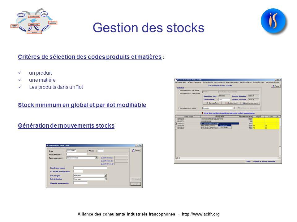 Gestion des stocks Critères de sélection des codes produits et matières : un produit une matière Les produits dans un îlot Stock minimum en global et