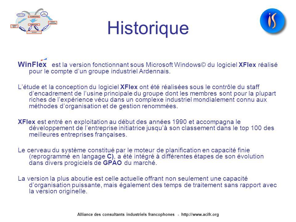 Historique WinFlex est la version fonctionnant sous Microsoft Windows© du logiciel XFlex réalisé pour le compte dun groupe industriel Ardennais. Létud
