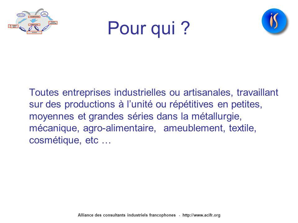 Pour qui ? Toutes entreprises industrielles ou artisanales, travaillant sur des productions à lunité ou répétitives en petites, moyennes et grandes sé