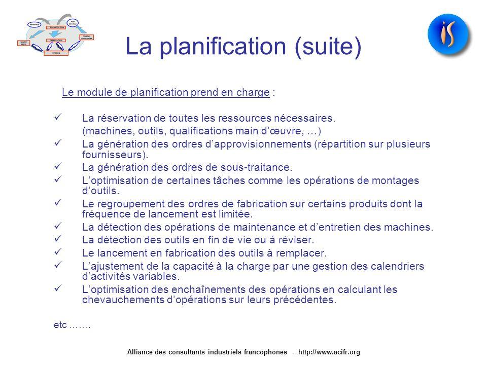 La planification (suite) Le module de planification prend en charge : La réservation de toutes les ressources nécessaires. (machines, outils, qualific