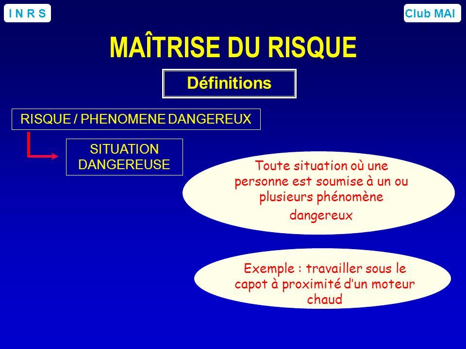 Club MAII N R S SITUATION DANGEREUSE Toute situation où une personne est soumise à un ou plusieurs phénomène dangereux Exemple : travailler sous le ca
