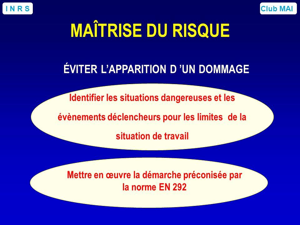 Club MAII N R S ÉVITER LAPPARITION D UN DOMMAGE Mettre en œuvre la démarche préconisée par la norme EN 292 Identifier les situations dangereuses et le